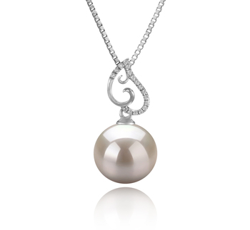 Belinda Blanc 10-11mm AAAA-qualité perles d'eau douce 925/1000 Argent-pendentif en perles