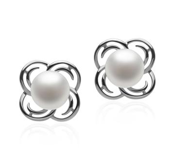 Bella Blanc 7-8mm AA-qualité perles d'eau douce 925/1000 Argent-Boucles d'oreilles en perles