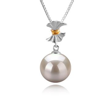 Belva Blanc 9-10mm AAAA-qualité perles d'eau douce 925/1000 Argent-pendentif en perles