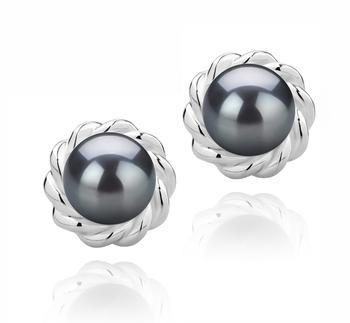 Bessie Noir 8-9mm AAAA-qualité perles d'eau douce 925/1000 Argent-Boucles d'oreilles en perles