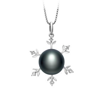 Mohamed Noir 12-13mm AA-qualité perles d'eau douce 925/1000 Argent-pendentif en perles