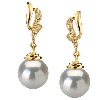 Bianka Blanc 10-11mm AAA-qualité des Mers du Sud 585/1000 Or Jaune-Boucles d'oreilles en perles