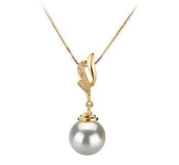 Bianka Blanc 10-11mm AAA-qualité des Mers du Sud 585/1000 Or Jaune-pendentif en perles