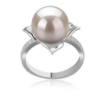 Billy Blanc 10-11mm AAAA-qualité perles d'eau douce 925/1000 Argent-Bague perles