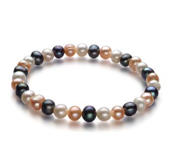 Bonheur Multicolore 6-7mm A-qualité perles d'eau douce -Bracelet de perles