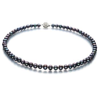 Bliss Noir 6-7mm A-qualité perles d'eau douce 925/1000 Argent-Collier de perles