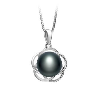 Bobbie Noir 9-10mm AA-qualité perles d'eau douce 925/1000 Argent-pendentif en perles