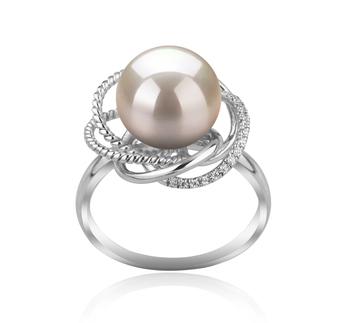 Bobbie Blanc 9-10mm AAAA-qualité perles d'eau douce 925/1000 Argent-Bague perles