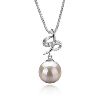 Bridget Blanc 10-11mm AAAA-qualité perles d'eau douce 925/1000 Argent-pendentif en perles