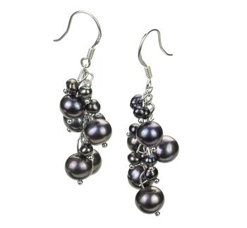 Brisa Noir 3-7mm A-qualité perles d'eau douce Alliage-Boucles d'oreilles en perles