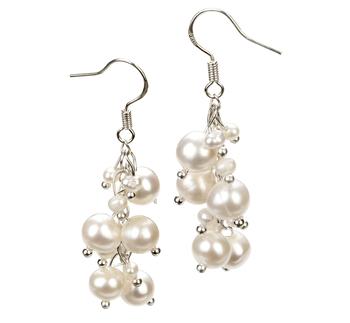 Brisa Blanc 3-7mm A-qualité perles d'eau douce Alliage-Boucles d'oreilles en perles