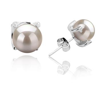 Britt Blanc 7-8mm AAAA-qualité perles d'eau douce 925/1000 Argent-Boucles d'oreilles en perles