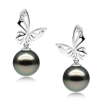 Papillon Noir 10-11mm AAA-qualité de Tahiti 585/1000 Or Blanc-Boucles d'oreilles en perles