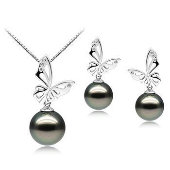 Papillon Noir 10-12mm AAA-qualité de Tahiti 585/1000 Or Blanc-un set en perles
