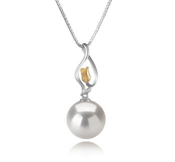 Caresse Blanc 11-12mm AA+-qualité perles d'eau douce - Edison 925/1000 Argent-pendentif en perles