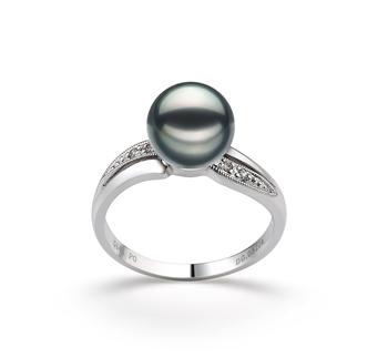 Caroline Noir 7-8mm AAA-qualité Akoya du Japon 585/1000 Or Blanc-Bague perles