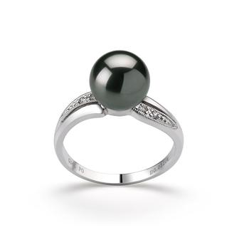 Caroline Noir 8-9mm AAA-qualité de Tahiti 585/1000 Or Blanc-Bague perles