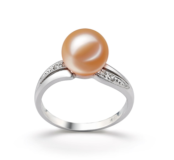 Caroline Rose 9-10mm AAAA-qualité perles d'eau douce 585/1000 Or Blanc-Bague perles