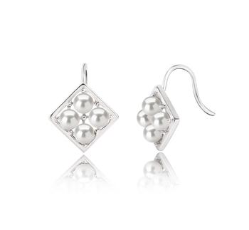 Carrie Blanc 3-4mm AAAA-qualité perles d'eau douce 925/1000 Argent-Boucles d'oreilles en perles