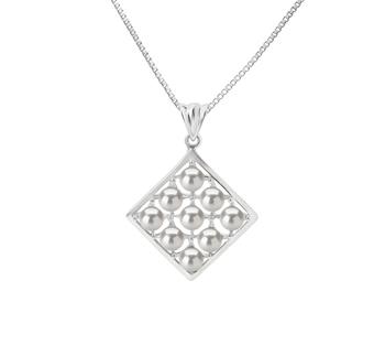Carrie Blanc 3-4mm AAAA-qualité perles d'eau douce 925/1000 Argent-pendentif en perles