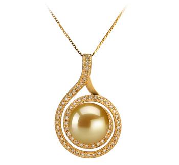 Catalina Or 12-13mm AAA-qualité des Mers du Sud 585/1000 Or Jaune-pendentif en perles