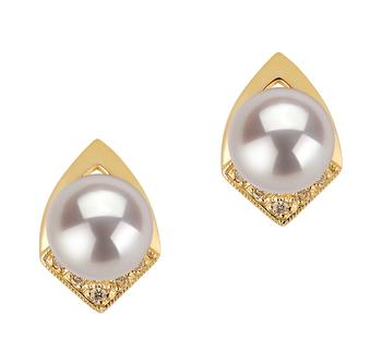 Catrina Blanc 7-8mm AAA-qualité Akoya du Japon 585/1000 Or Jaune-Boucles d'oreilles en perles
