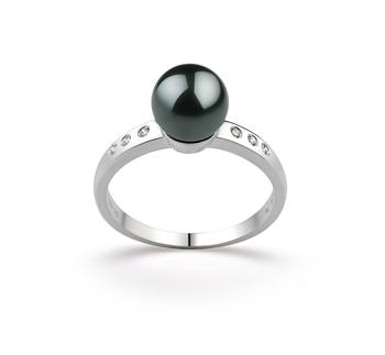 Cecelia Noir 7.5-8mm AAA-qualité Akoya du Japon 585/1000 Or Blanc-Bague perles