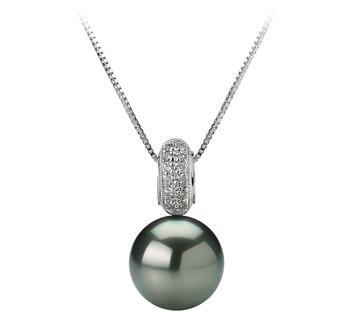 Cecilia Noir 10-10.5mm AAA-qualité de Tahiti 585/1000 Or Blanc-pendentif en perles