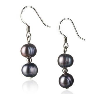 Cerella Noir 6-7mm A-qualité perles d'eau douce 925/1000 Argent-Boucles d'oreilles en perles