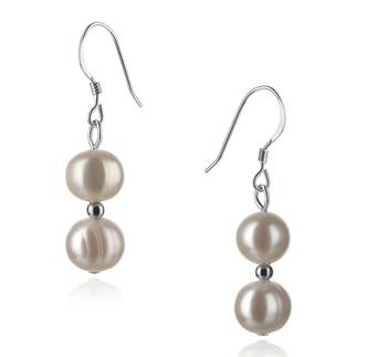 Cerella Blanc 6-7mm A-qualité perles d'eau douce 925/1000 Argent-Boucles d'oreilles en perles