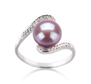 Chantel Lavande 9-10mm AA-qualité perles d'eau douce 925/1000 Argent-Bague perles
