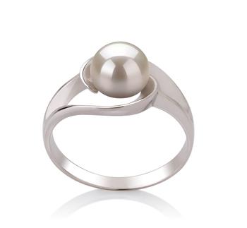 Claire Blanc 6-7mm AAA-qualité perles d'eau douce 925/1000 Argent-Bague perles