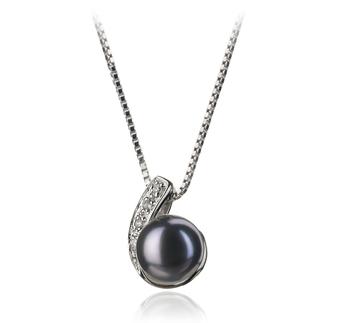 Claudia Noir 7-8mm AA-qualité perles d'eau douce 925/1000 Argent-pendentif en perles