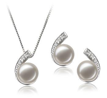 Claudia Blanc 7-8mm AA-qualité perles d'eau douce 925/1000 Argent-un set en perles