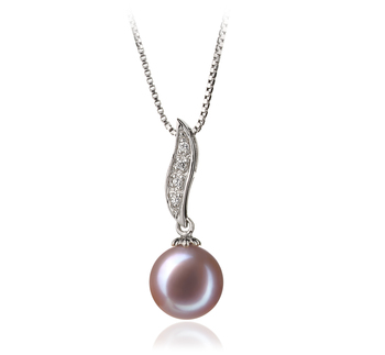 Clémentine Lavande 9-10mm AAA-qualité perles d'eau douce 925/1000 Argent-pendentif en perles