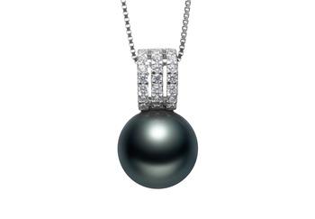 Colette Noir 12-13mm AAA-qualité de Tahiti 925/1000 Argent-pendentif en perles