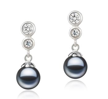 Colleen Noir 7-8mm AAAA-qualité perles d'eau douce 925/1000 Argent-Boucles d'oreilles en perles