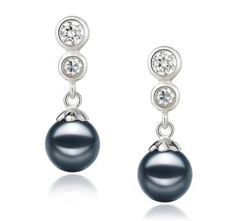 Colleen Noir 7-8mm AA-qualité Akoya du Japon 925/1000 Argent-Boucles d'oreilles en perles