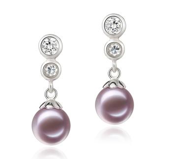 Colleen Lavande 7-8mm AAAA-qualité perles d'eau douce 925/1000 Argent-Boucles d'oreilles en perles