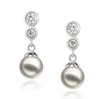Colleen Blanc 7-8mm AA-qualité Akoya du Japon 925/1000 Argent-Boucles d'oreilles en perles