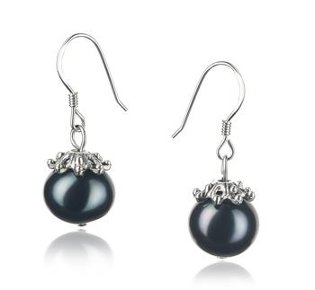 Connor Noir 8-9mm A-qualité perles d'eau douce 925/1000 Argent-Boucles d'oreilles en perles