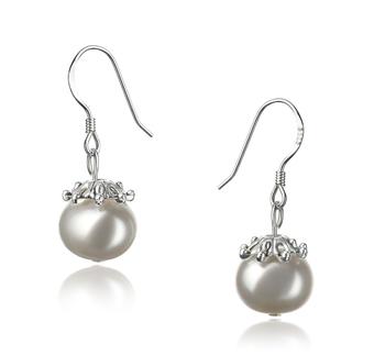 Connor Blanc 8-9mm A-qualité perles d'eau douce 925/1000 Argent-Boucles d'oreilles en perles