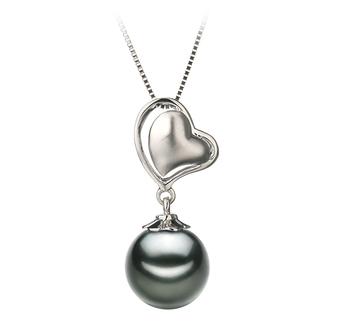 Cora Noir 8-9mm AAA-qualité de Tahiti 585/1000 Or Blanc-pendentif en perles