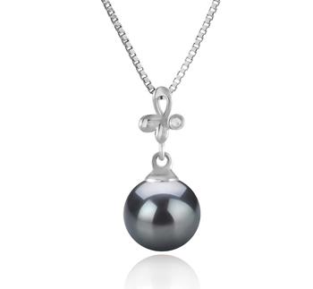 Coralie Noir 7-8mm AA-qualité Akoya du Japon 925/1000 Argent-pendentif en perles