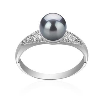 Cristy Noir 6-7mm AAAA-qualité perles d'eau douce 925/1000 Argent-Bague perles