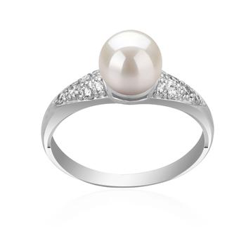Cristy Blanc 6-7mm AAAA-qualité perles d'eau douce 925/1000 Argent-Bague perles