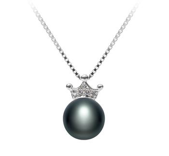 Crown Noir 8-9mm AAA-qualité perles d'eau douce 925/1000 Argent-pendentif en perles