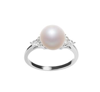 Dacey Blanc 8-9mm AAA-qualité perles d'eau douce 925/1000 Argent-Bague perles