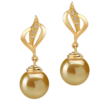 Damica Or 10-11mm AAA-qualité des Mers du Sud 585/1000 Or Jaune-Boucles d'oreilles en perles