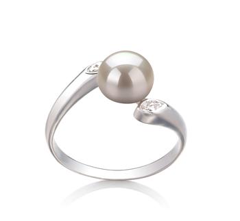 Dana Blanc 6-7mm AAA-qualité perles d'eau douce 925/1000 Argent-Bague perles